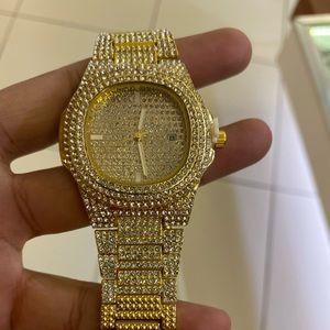 Men's gold sparkle watch